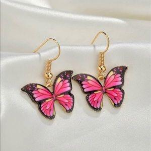 Pink Monarch Butterfly Dangle Earrings 🦋